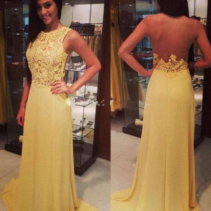 Yellow Chiffon Prom Dress,Sexy Back..