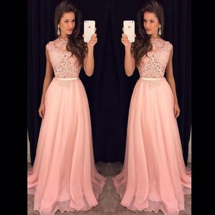 Lace Top Pink Prom Dress, Long Even..