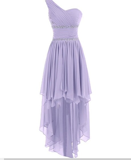 Bg313 Charming Prom Dress,Chiffon Prom Dress,One Shoulder Prom Dress,Light Purple Prom Dresses,Cute Prom Dress