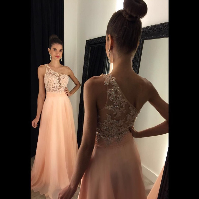 Bg1335 Elegant One Shoulder Long Prom Dresses With Lace Appliques And Beading See Though Party Dress