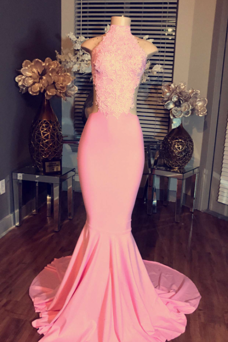 Charming Prom Dress,Sexy Prom Dress,Long Evening Dress,Mermaid Evening Dresses,High Neck Prom Party Dress