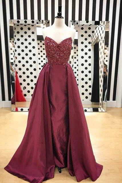 Custom Made Prom Dresses,Beaded Prom Dress, A Line Evening Dress,Sleeveless Evening Party Dress
