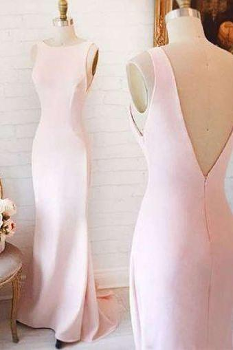 Charming Prom Dress,Pink Mermaid Evening Dress,Sleeveless Prom Dress,Long Formal Dress