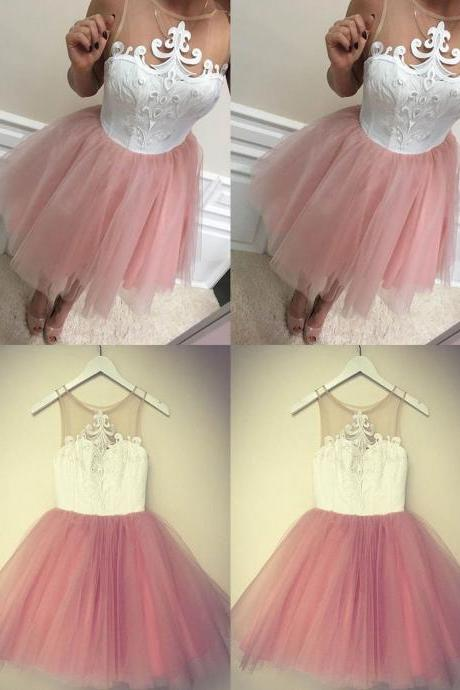 Charming Prom Dress,Sexy Prom Dress,Short Homecoming Dress,Cute Tulle Pink Party Dress