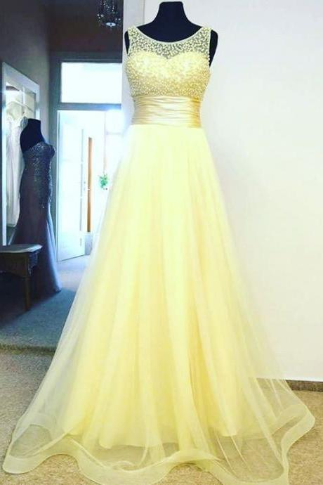 Charming Prom Dress,Sexy Prom Dress,Tulle Evening Dress,Yellow Evening Dresses,Formal Gown