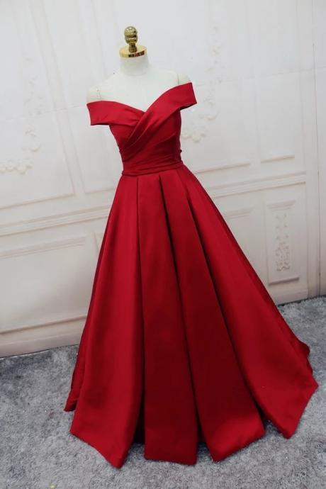 Red Satin Off-The-Shoulder Plunge V Floor Length A-Line Prom Dress Featuring Lace-Up Back, Evening Dress
