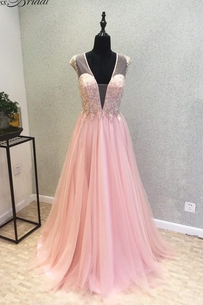 Plunging V Lace Appliqués A-line Long Prom Dress, Evening Dress