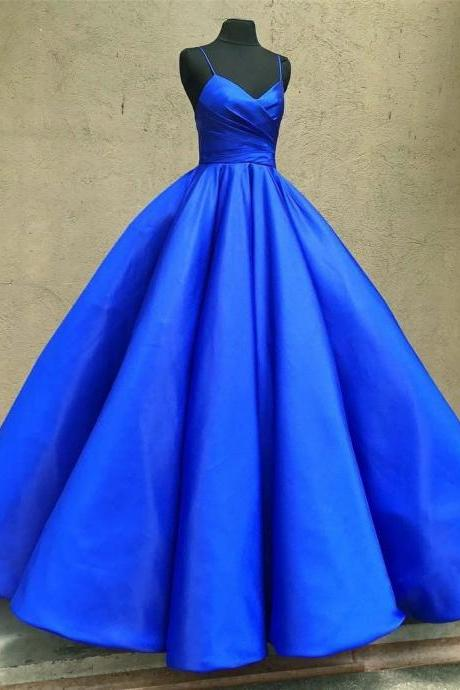 Blue Satin Plunge V Spaghetti Straps Floor Length Prom Gown, Quinceanera Dress
