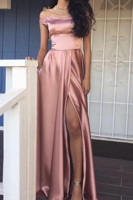 Satin Off-The-Shoulder Floor Length A-Line Prom Dress Featuring Slit, Evening Dress