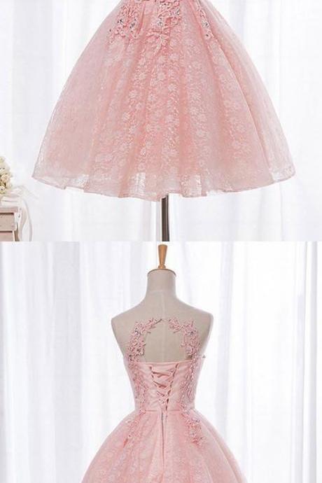 Charming Prom Dress,Sleeveless Prom Dresses, Appliques Prom Party Dress,Tull Pink Homecoming Dress