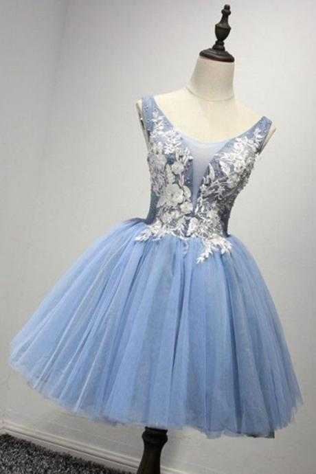 Charming Prom Dress,Short Homecoming Dress,Blue Tulle Prom Dress,Sleeveless Prom Gown