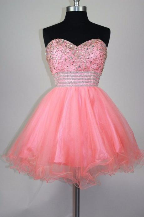 Charming Prom Dress, Tulle Prom Dress, Elegant Homecoming Dress, Crystal Beaded Graduation Dress