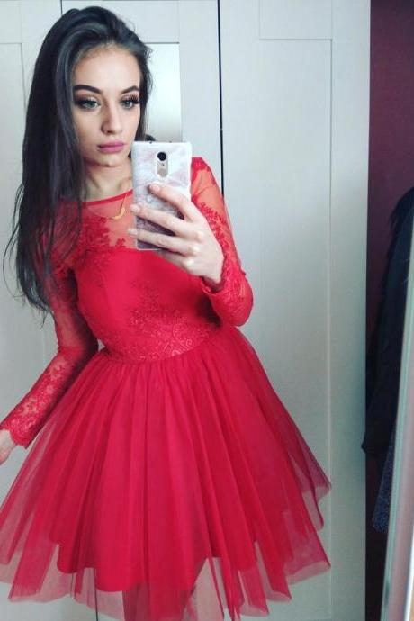 Charming Prom Dress, Long Sleeve Red Prom Dresses, Tulle Prom Gowns, Short Homecoming Dress