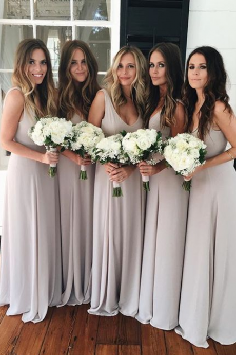 Sexy Simple V Neck Bridesmaid Dress,Wedding Guest Party Dress, Chiffon Bridesmaid Dresses
