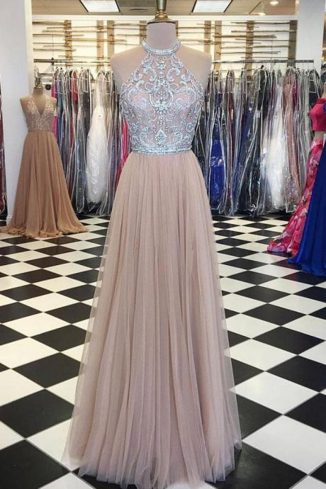 Sexy Prom Dress, Tulle Prom Dress, Long Prom Dresses, O Neck Homecoming Dress, Evening Dress CF175