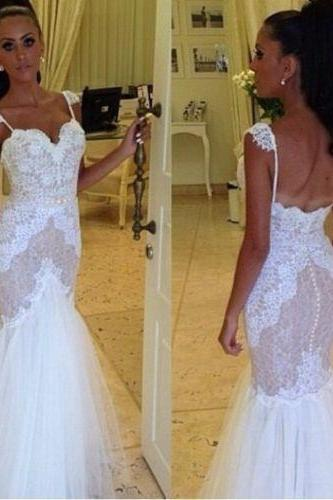 Gergeous Appliques Wedding Dress, Sexy Mermaid Long Wedding Dresses CF1278