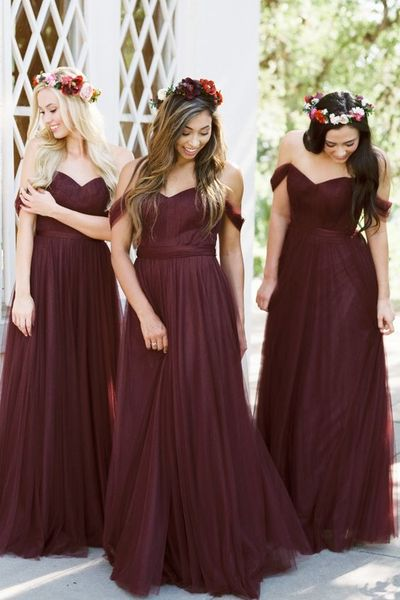 Off Shoulder A Line Bridesmaid Dresses CF1337