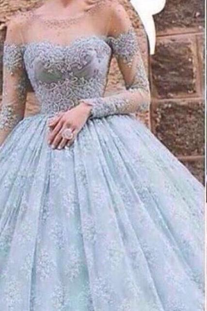 Long Sleeve Tulle Appliques Wedding Dress, Sexy Ball Gown Wedding Dresses, Bridal Dresses