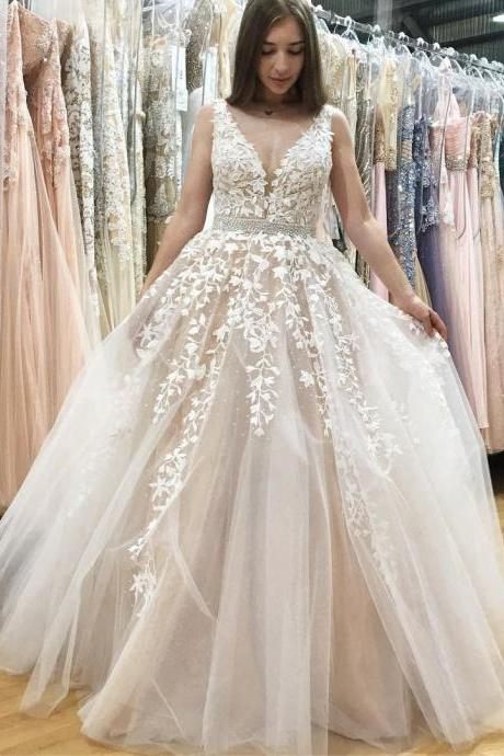 Elegant Tulle Appliques V Neckline Wedding Dress, Sleeveless Bridal Dresses