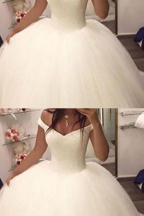 Sexy White Tulle Ball Gown Wedding Dress, Formal Off Shoulder Wedding Gown Bridal Dresses
