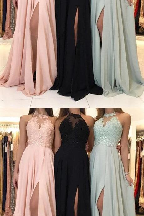 Appliques Split Slit Prom Dress, Sleeveless Prom Dresses, Long Evening Dress