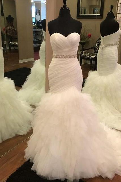 Strapless Sweetheart Ruched Beaded Tulle Mermaid Wedding Dress with Tiered Ruffled Skirt and Lace-Up Back