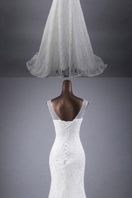 Charming Appliques White Mermaid Wedding Dress, Elegant Bridal Dresses