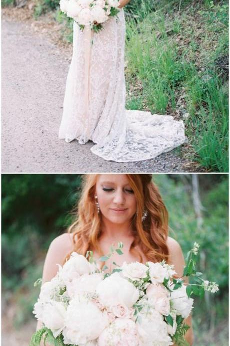 Charming Wedding Dress, A Line Lace Wedding Dresses, Sexy Bridal Dresses