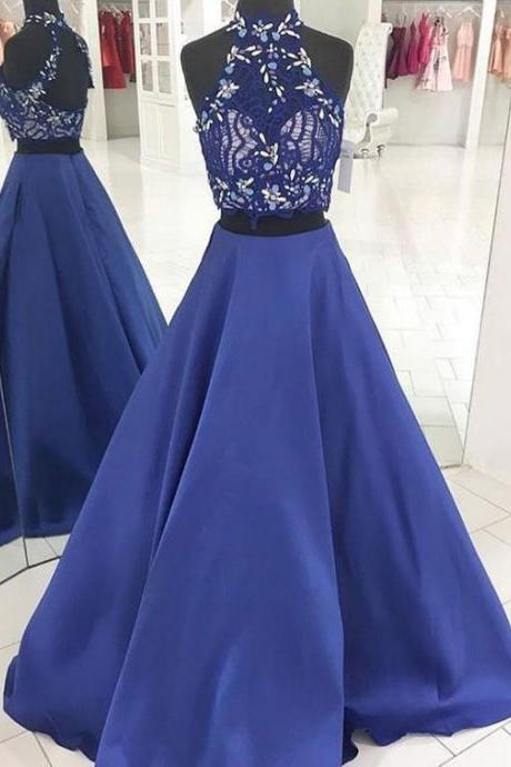 Charming Prom Dress, Elegant Two Piece Appliques Prom Dresses, Long Evening Party Dress