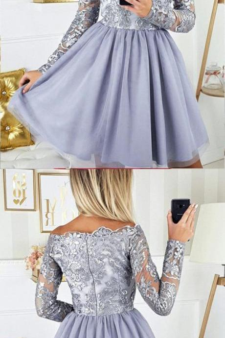Lace Short Prom Dress, Long Sleeve Tulle Homecoming Dress, Elegant Party Dress