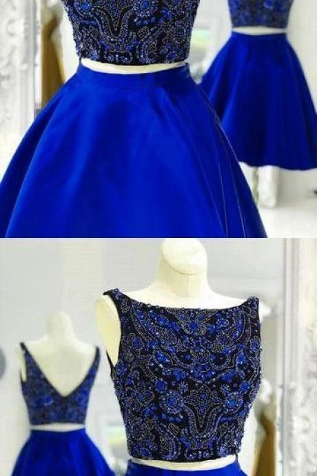 Charming Prom Dress, Sexy Royal Blue Two Piece Prom Dresses, Short Satin Homecoming Dress, Cheap Prom Gowns