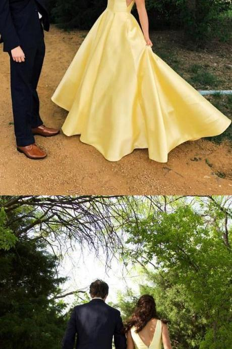 Charming Prom Dress, Elegant Yellow Satin Prom Dresses, Long Evening Party Dress