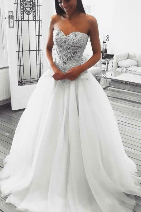 Charming Strapless Tulle Appliques Wedding Dress, Sexy White Bridal Dresses