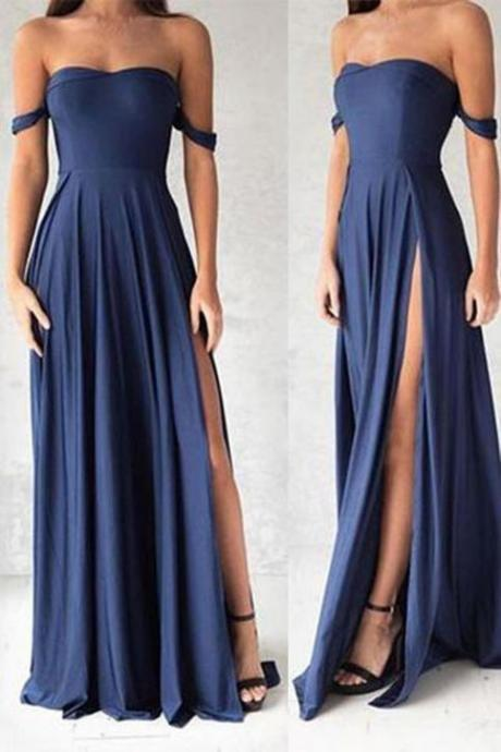 Charming Navy Blue Off the Shoulder Prom Dresses with Slit, Long Evening Party Dress