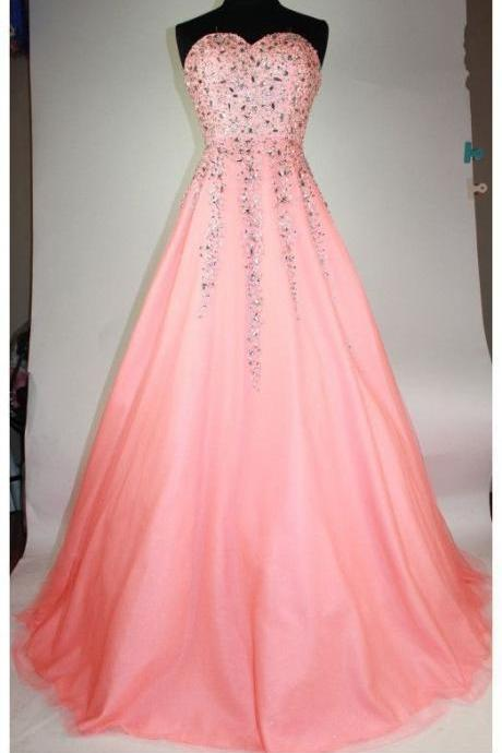 Tulle Crystal Beading Tulle A Line Prom Dress, Formal Long Homecoming Dress
