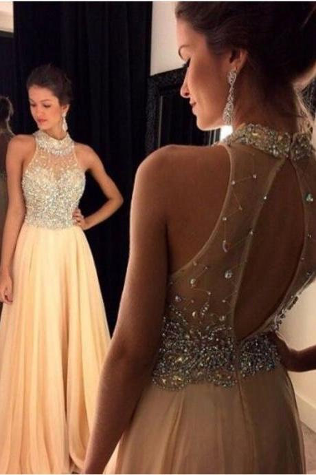 Bg17 2016 Light Champagne Prom Dress Beading Halter Long Chiffon Prom Gowns Graduated Dresses Homecoming Dress