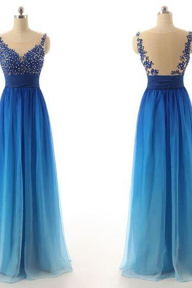 Bg55 See Though Prom Dress,Charming Prom Dress,Long Prom Dress,Chiffon Prom Dress,Beading Prom Dresses,Floor Length Homecoming Dress,A Line Evening Dress