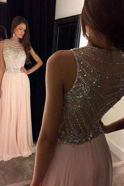 Bg61 Charming Prom Dress,Chiffon Prom Dresses,Pink Long Prom Dress,Backless Prom Dress,Beading Crystal Prom Dress