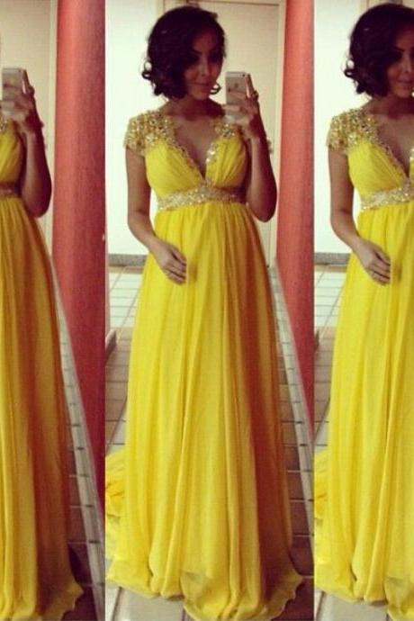 Bg93 Prom Dress,Yellow Chiffon Prom Dress,Mermaid Prom Dress,V Neck Prom Dresses,Formal Evening Dress,Elegant Evening Gown