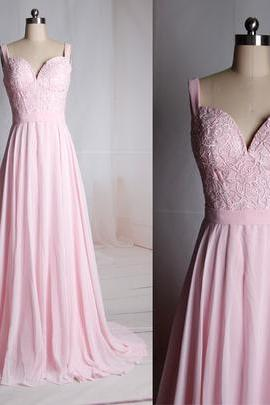 Bg181 Charming Prom Dress,Pink Prom Dress,Chiffon Prom Dress,Floor Length Prom Dresses,Lace Prom Dress,Long Evening Dress,Prom Dress 2016