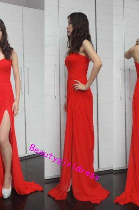 Bg262 Charming Prom Dress,Sexy Prom Dresses,Red Prom Dresses,Chiffon Prom Dress,Pretty Dress for Prom,Prom Dress with Slit