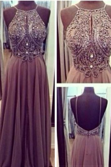 Bg344 Beading Prom Dress,Grey Prom Dresses,Sexy Prom Dress,Chiffon Prom Dress,Long Evening Dress,Evening Gown