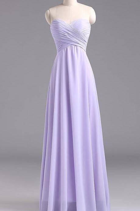 Bg430 Charming Prom Dress,Chiffon Prom Dress,Light Purple Prom Dress,Prom Dress with Pleated,Floor Length Prom Dress