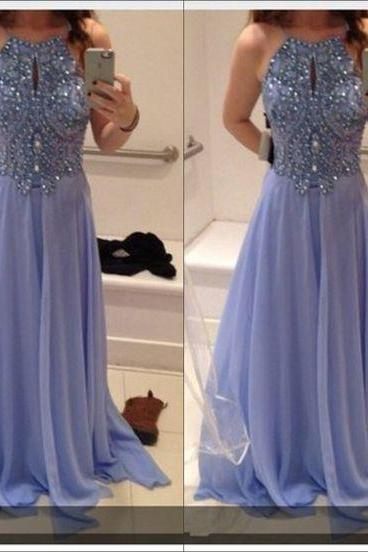 Bg486 Charming Prom Dress,Chiffon Prom Dress,Sexy Prom Dress,Blue Prom Dress,Beading Prom Dress