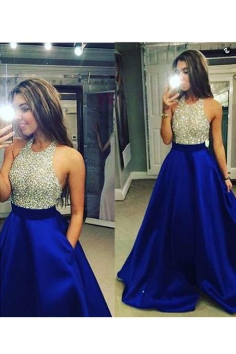 Bg488 Charming Prom Dress,Royal Blue Prom Dress,Halter Sexy Prom Dress,Beading Prom Dresses,Long Evening Dress
