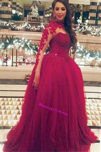 Bg453 Charming Prom Dress,Tulle Prom Dress,Red Prom Dresses,Long Sleeve Prom Dress,Appliques Prom Dresses