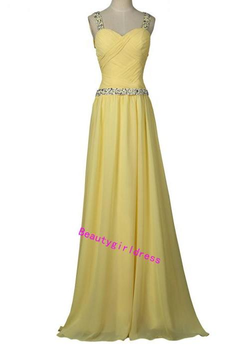 Bg464 Charming Prom Dress,Yellow Prom Dress,Chiffon Prom Dress,Backless Prom Dress,Beading Prom Dress