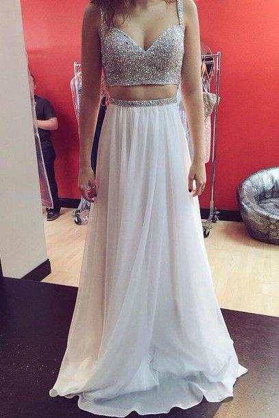 Bg629 Two Piece Prom Dress,Chiffon Prom Dress,Sequins Prom Dress,White Prom Dress