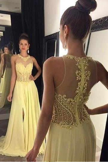Bg644 Charming Prom Dress,Long Prom Dresses,See Though Yellow Prom Dress,Evening Women Dress