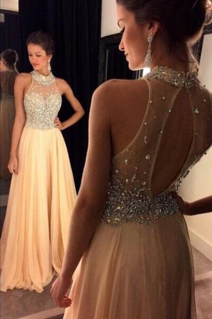 Bg714 Charming Prom Dress,Chiffon Prom Dress,Backless Prom Dress,Halter Prom Dress